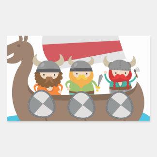 Little Vikings in ship Rectangular Sticker