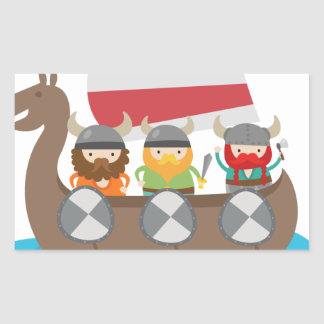 Little Vikings in ship Rectangle Sticker