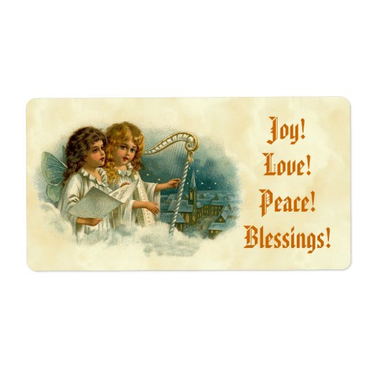 Little Vintage Angels and Harp Blessings Joy Love Shipping Label