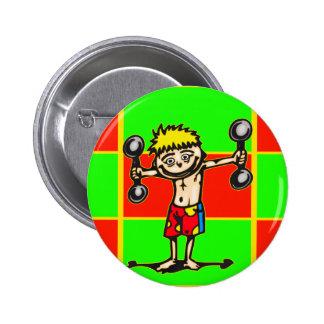 Little Weightlifting Boy 6 Cm Round Badge