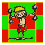 Little Weightlifting Boy Poster
