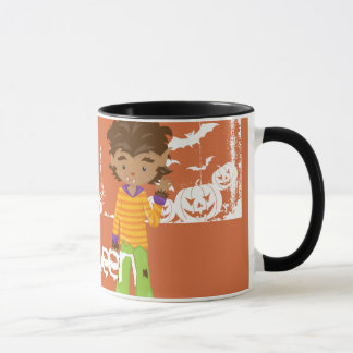 Little Werewolf Orange and White Happy Halloween Mug