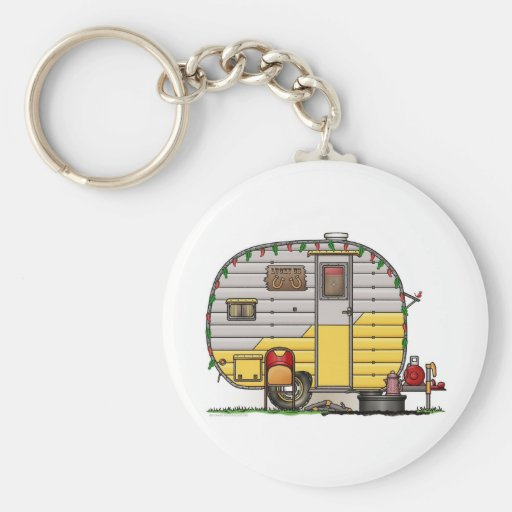 Little Western Camper Trailer Basic Round Button Key Ring