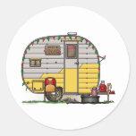 Little Western Camper Trailer Round Sticker