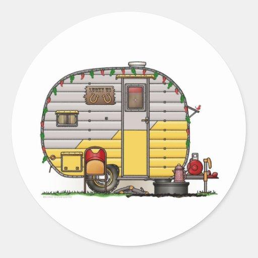 Little Western Camper Trailer Round Stickers