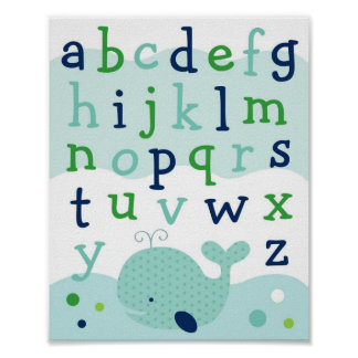 Little Whale Alphabet Nursery Wall Art Print