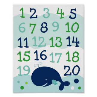 Little Whale Numbers Nursery Wall Art Print
