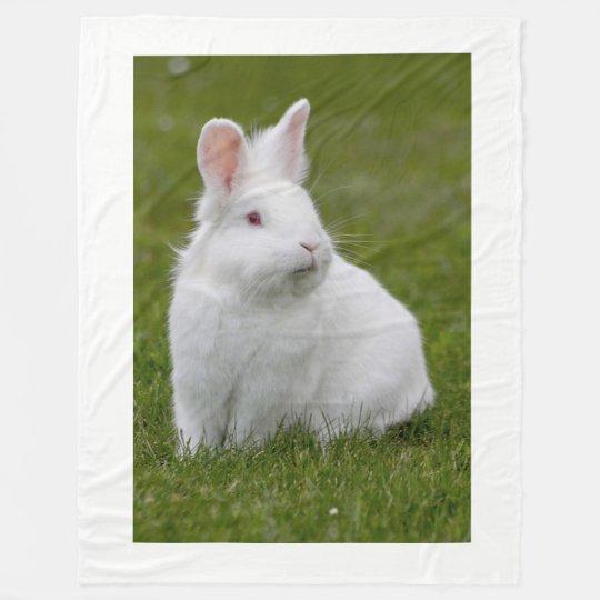 little white bunny rabbit fleece blanket