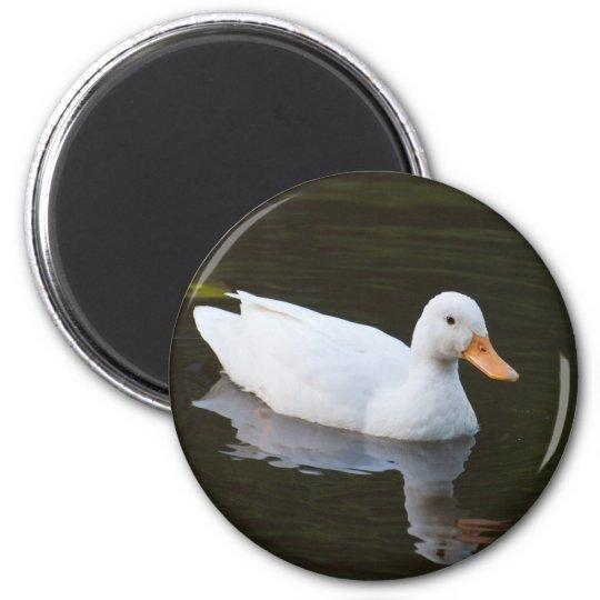 Little White Duck 6 Cm Round Magnet