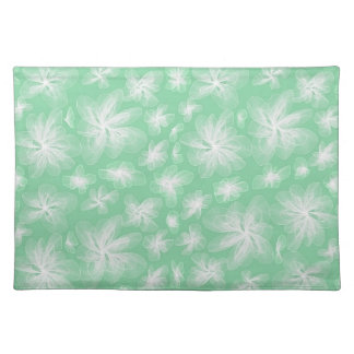 Little White Flowers With Green Placemat