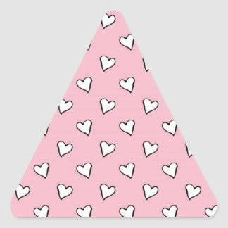 Little White Hearts on PInk Triangle Sticker