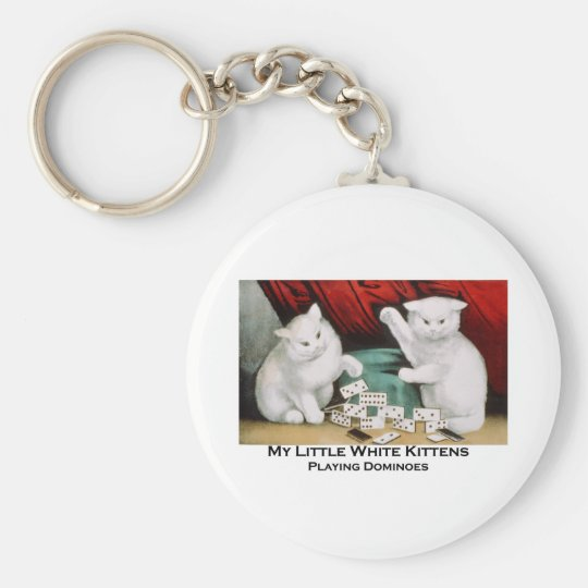 Little White Kittens Playing Dominoes Basic Round Button Key Ring