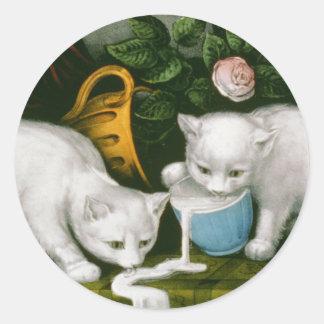 Little White Kitties - Into Mischief Round Sticker