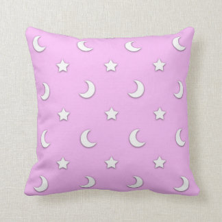 Little White Stars and Moons on Pink Cushion
