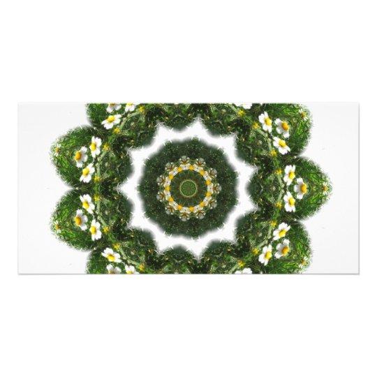 Little White Wildflower Kaleidoscope Art 4 Photo Card