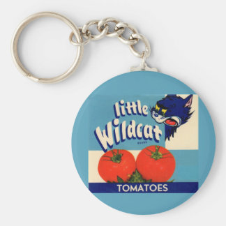 Little Wildcat tomatoes crate label Basic Round Button Key Ring