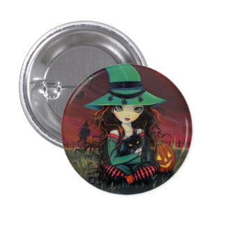 LIttle Witch and Black Cat Halloween Button
