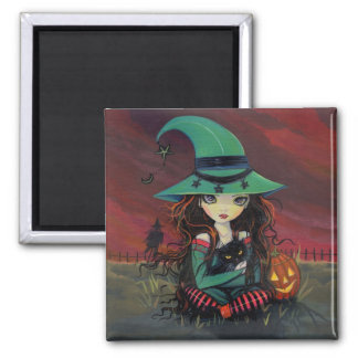 Little Witch and Black Cat Halloween Magnet