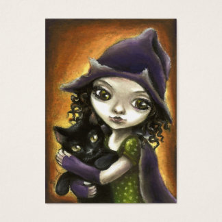 Little witch and black kitten business card