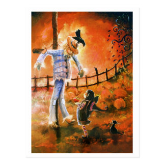Little Witch and Scarecrow Postcard Post Card