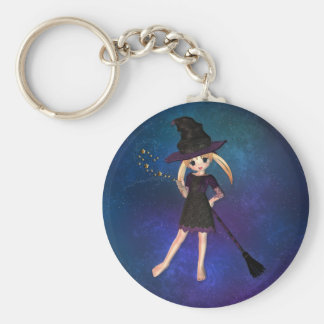 Little Witch Basic Round Button Key Ring