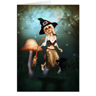 little witch fantasy art note card - moonlight