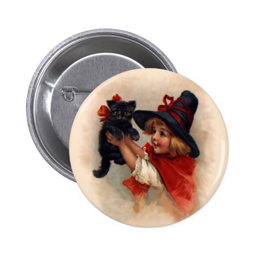 Little Witch Girl Pinback Button