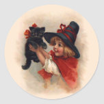 Little Witch Girl Round Stickers