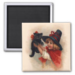 Little Witch Girl Square Magnet