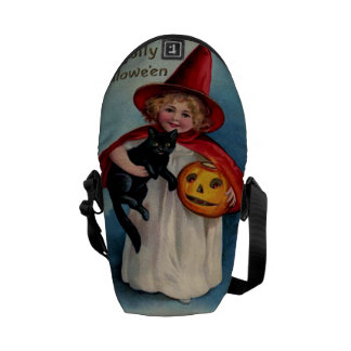 Little Witch Girl With Her Black Cat Messenger Bags