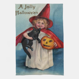 Little Witch Girl With Her Black Cat Tea Towel
