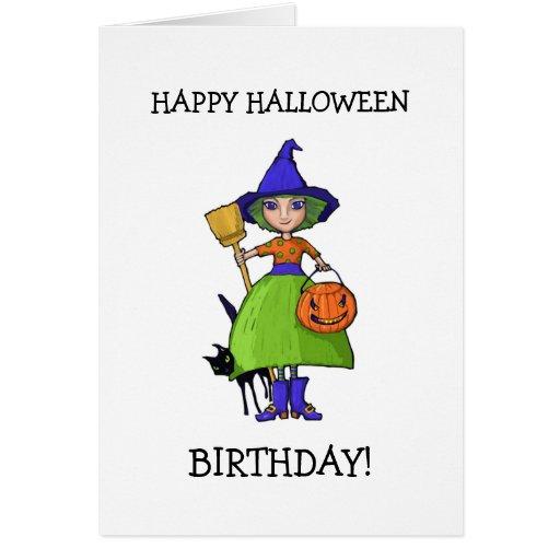 Little Witch Halloween Birthday Card