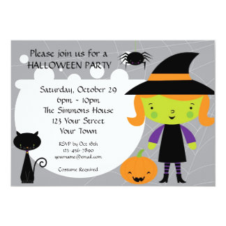 Little Witch Halloween Party 13 Cm X 18 Cm Invitation Card