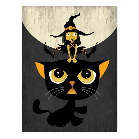 Little Witch Playing Leap Frog with Black Cat Postcard