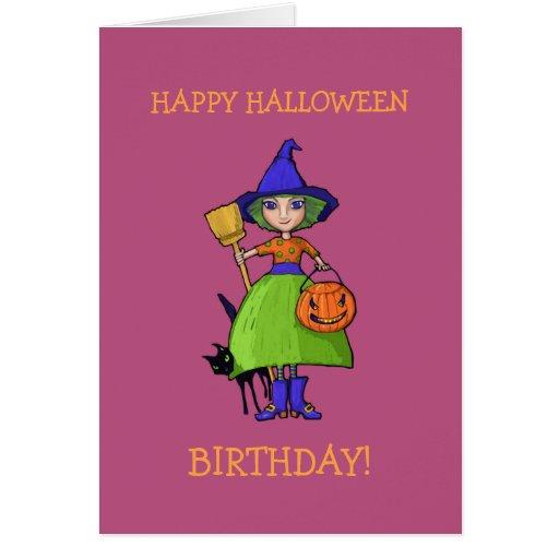 Little Witch plum Halloween Birthday Card