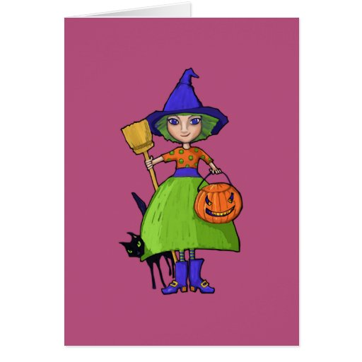 Little Witch plum Halloween Note Card