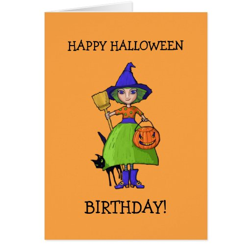 Little Witch pumpkin Halloween Birthday Card