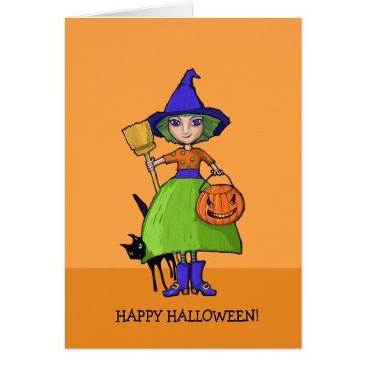 Little Witch pumpkin Halloween Card