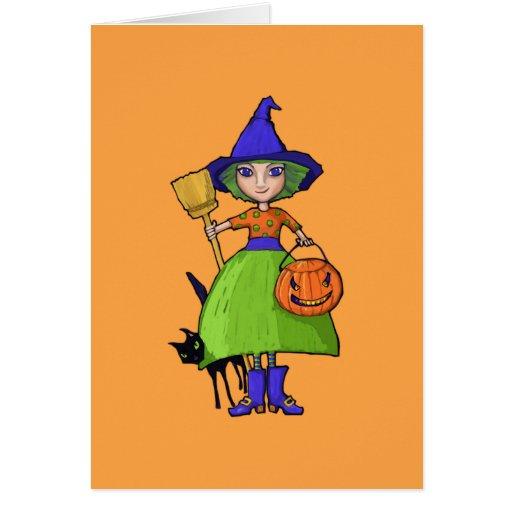 Little Witch pumpkin Halloween Note Card