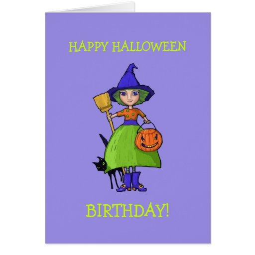 Little Witch purple Halloween Birthday Card