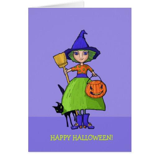 Little Witch purple Halloween Card