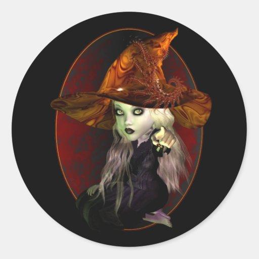 Little Witch Round Stickers