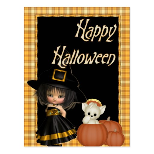 Little Witch & White Cat Halloween Postcards D10