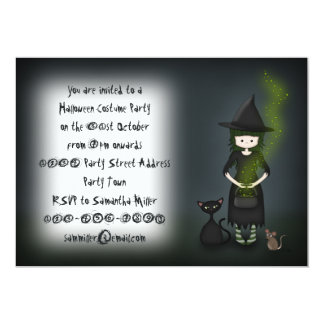 Little Witch with Cat and Mouse Halloween Party 13 Cm X 18 Cm Invitation Card