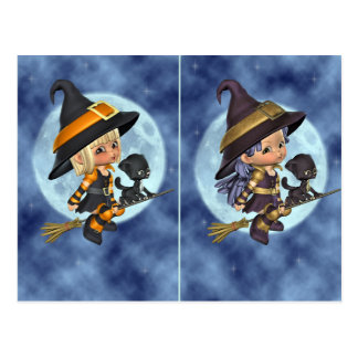 Little Witches School Halloween Party Card Postcards