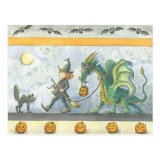 Little Witch's Halloween Dragon (postcard) Postcard