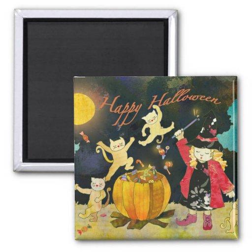 Little Witch's Magic Cauldron: Halloween Magnet