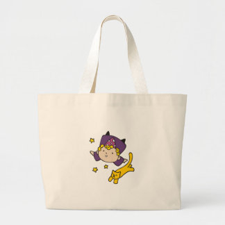 Little Wizard with Cat Jumbo Tote Bag