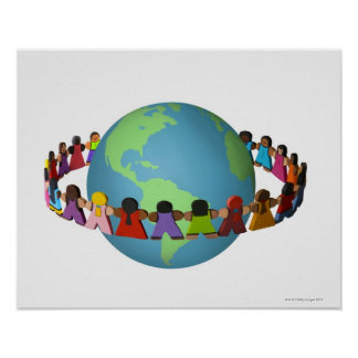 Little wooden dolls of varied ethnicities posters