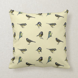 Little Yellow and Blue Birds Throw Cushion